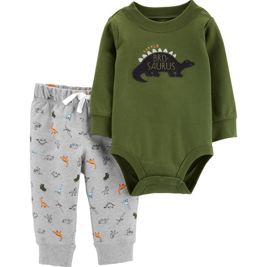 Carter's 2-Piece Dinosaur Baby Body Pant Set Green/Heather GREEN (300)