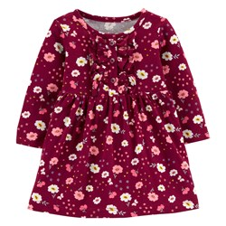 Carter's Floral Jersey Dress Maroon