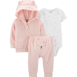 Carter's 3-Piece Terry Little Jacket Set Pink/Ivory