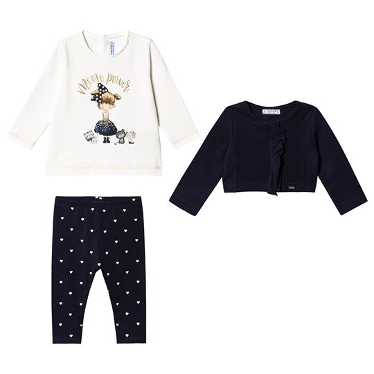 Mayoral Tee, Cardigan and Leggings Set Navy 28