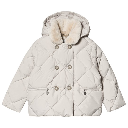 Bonpoint White Quilted Faux Fur Collar Jacket 008