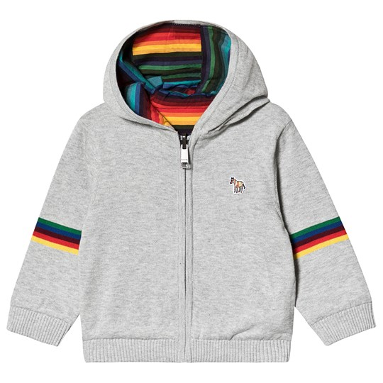 Paul Smith Junior Knit Jersey Reversible Hoodie Grey and Multi Stripe 240