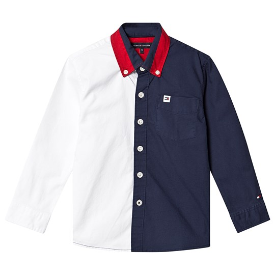 Tommy Hilfiger Color Block Shirt Navy and White CBK