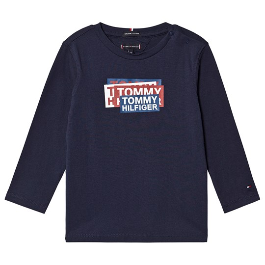 Tommy Hilfiger Sticker Long Sleeve Tee Navy CBK