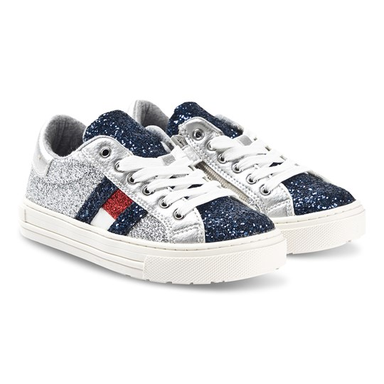 Tommy Hilfiger Silver Glitter Branded Sneakers Y365