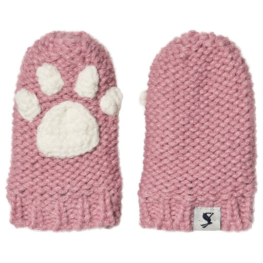 Tom Joule Paws Knitted Infants Mittens Pink CHERRY BLOSSOM