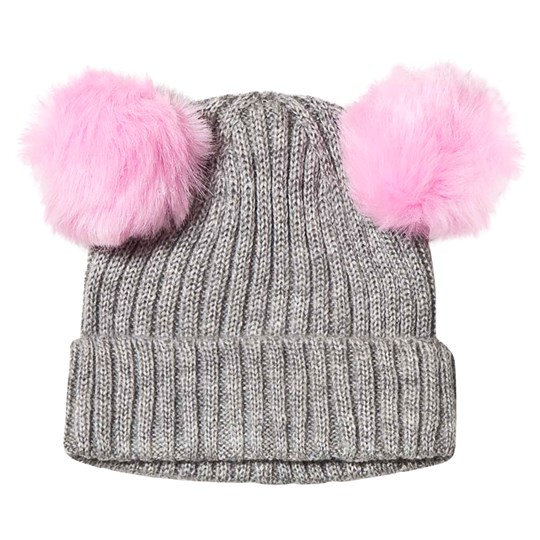 Hatley Pom-Pom Ears Beanie Grey and Pink Black