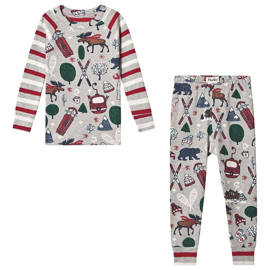Hatley Winter Traditions Moose Pajamas Gray Black