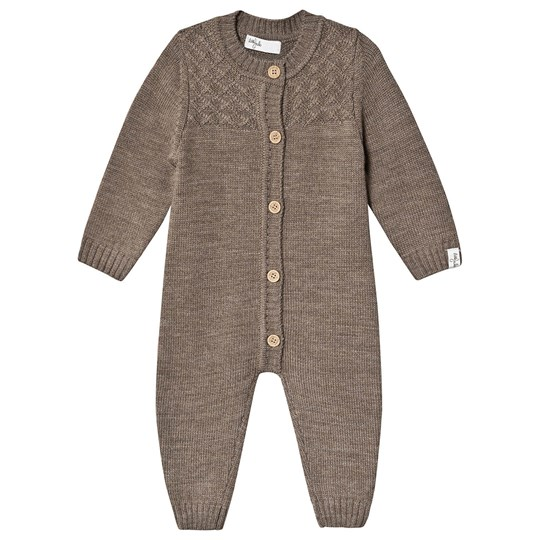 Little Jalo Knitted Baby One-Piece Wood Brown