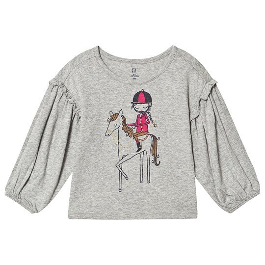 GAP Ruffle-Sleeve Graphic T-Shirt Grey GIRL