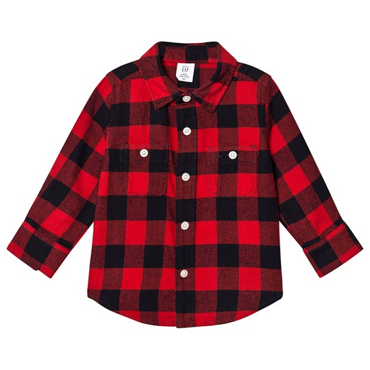 GAP Buffalo Plaid Long Sleeve Shirt Modern Red MODERN RED 2