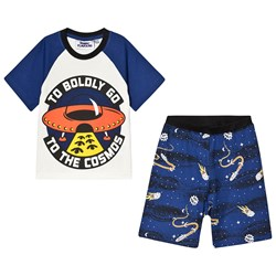 Fabric Flavours Out of This World To Boldly Go Pajama Set White & Navy