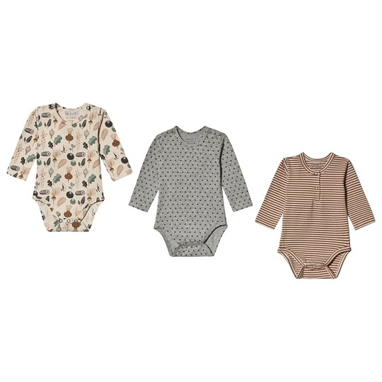 Hust&Claire Base Baby Body Three-Pack Wheat Wheat