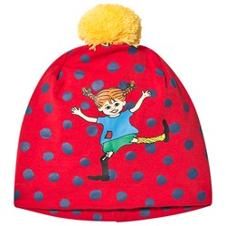 Pippi Långstrump Prickigt Beanie Red/Blue