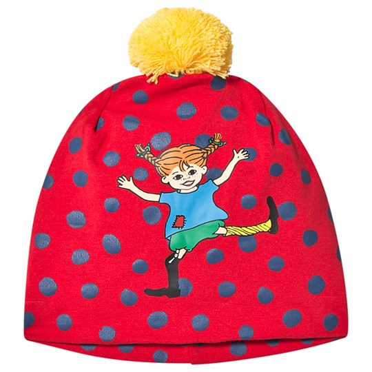 Pippi Långstrump Prickigt Beanie Red/Blue /Blå