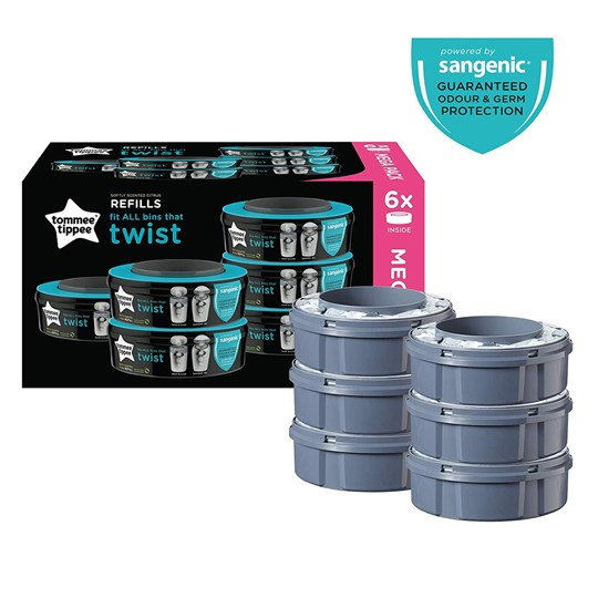 Tommee Tippee Sangenic Twist & Click Refill 6-pack. Grey