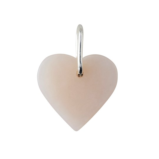 Design Letters Stone Heart Charm - Pink/Sterling Silver Pink