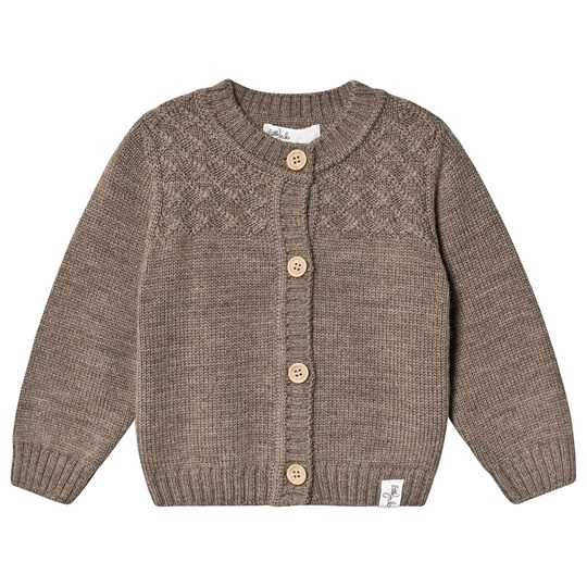 Little Jalo Knitted Baby Cardigan Wood Brown