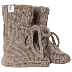 Little Jalo Knitted Baby Booties Wood Brown