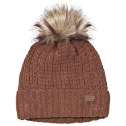 Melton Lamb Wool Structure Beanie Leather Brown