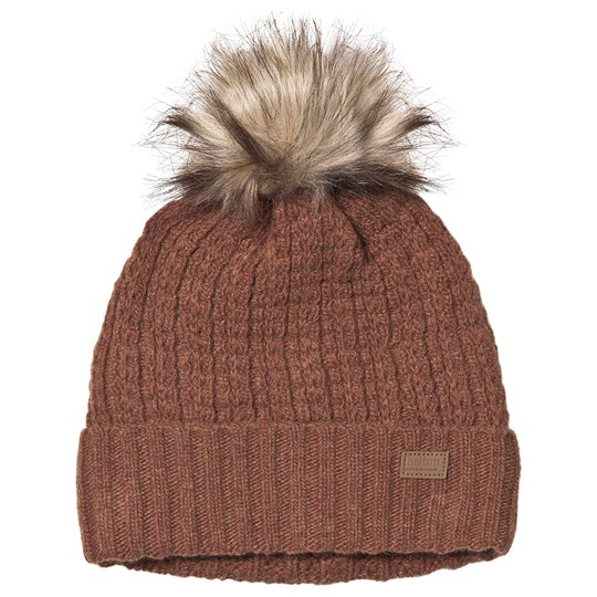 Melton Lamb Wool Structure Beanie Leather Brown Leather Brown