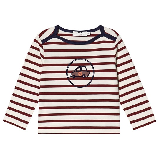 Cyrillus Stripe Doudi Car Long Sleeve Tee Red/White Bordeaux
