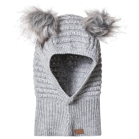 Melton Pom Pom Wool Balaclava Light Grey Melange Light Grey Melange