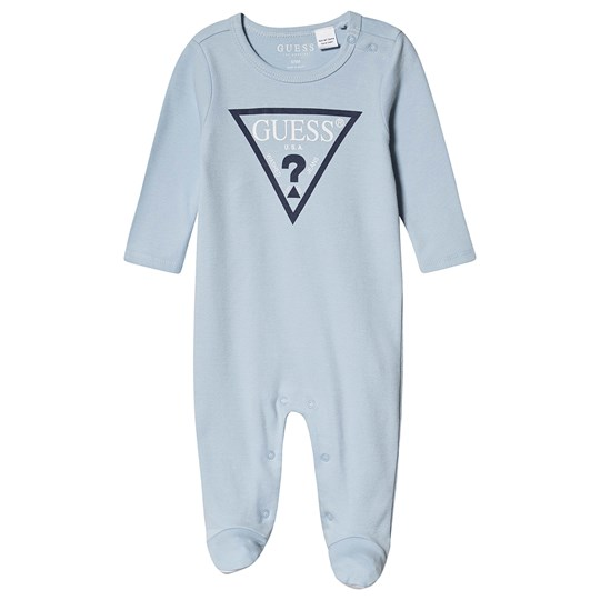 Guess Logo Print Footed Baby Body Blue FTBL