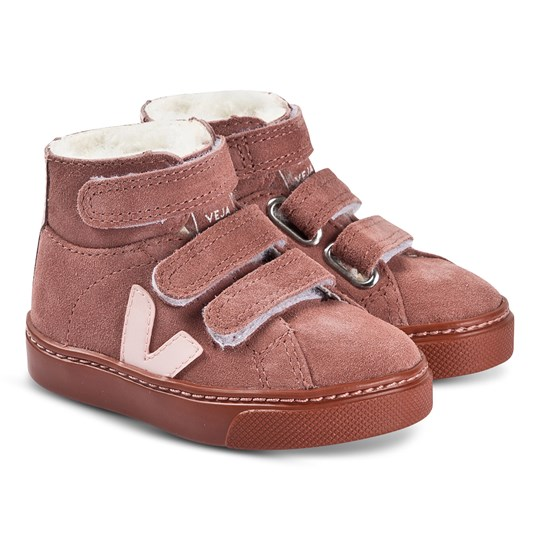 Veja Esplar Mid Fured Leather Sneakers Pink Suede Dried-Petal Petale Rust