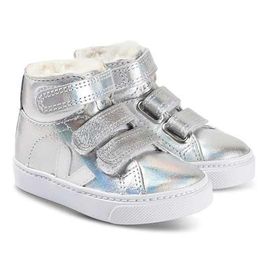 Veja Esplar Mid Fured Leather Sneakers Silver UNICORN WHITE