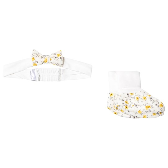Petit Bateau Floral Headband and Booties Cream variante 1
