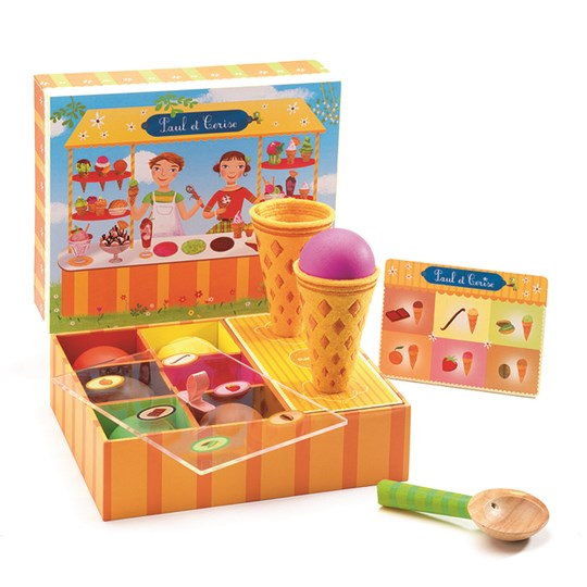 Djeco Ice Cream Stand Paul & Cerise Roleplay Set Orange