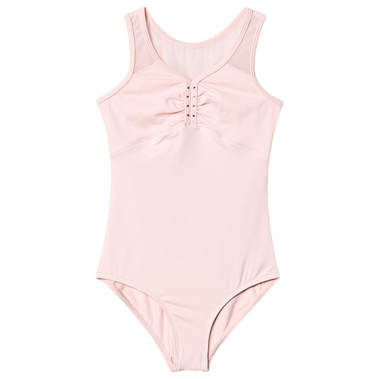 Mirella Heart Flock Open Back Tank Leotard Light Pink Pink