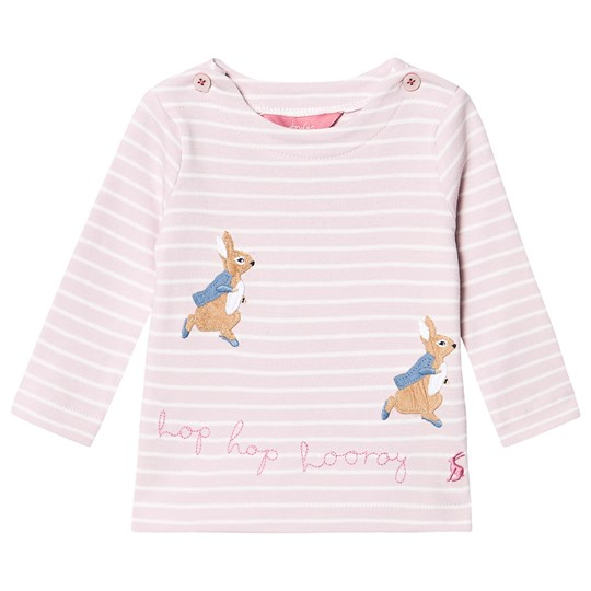 Tom Joule Harriet Long Sleeve T-Shirt Peter Rabbit Pink Pink Stripe Hopping Peter