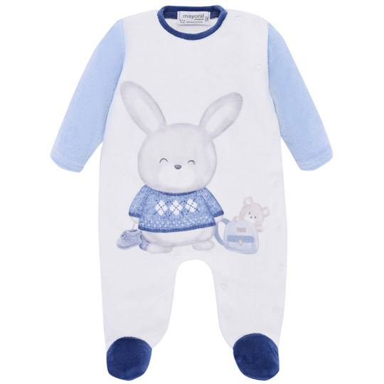 Mayoral Bunny Velour Footed Baby Body Blue/Cream 84