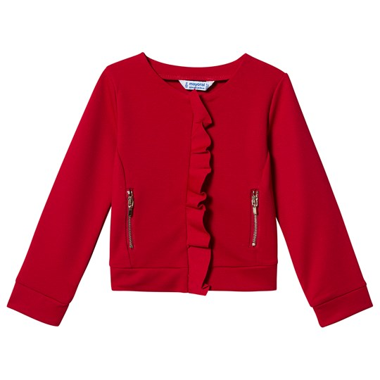 Mayoral Ruffle Detail Zip Sweater Red 21