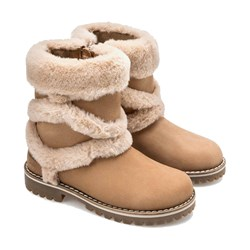 Mayoral Faux Fur Detailed Leather Boots Camel