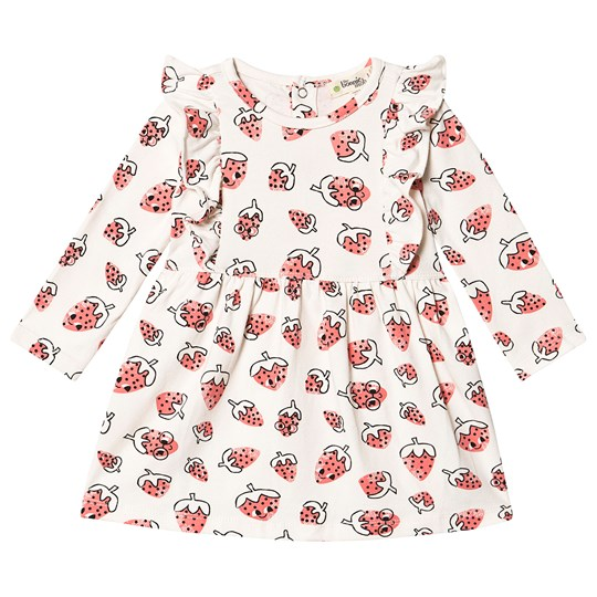 The Bonnie Mob Sally Dress with Frill Shoulder Strawberry Strawberry