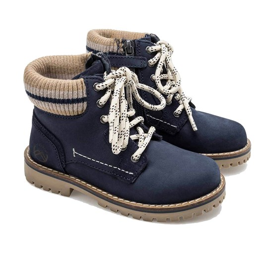 Mayoral Lace and Zip Up 6-Eye Leather Ankle Boot Navy 43