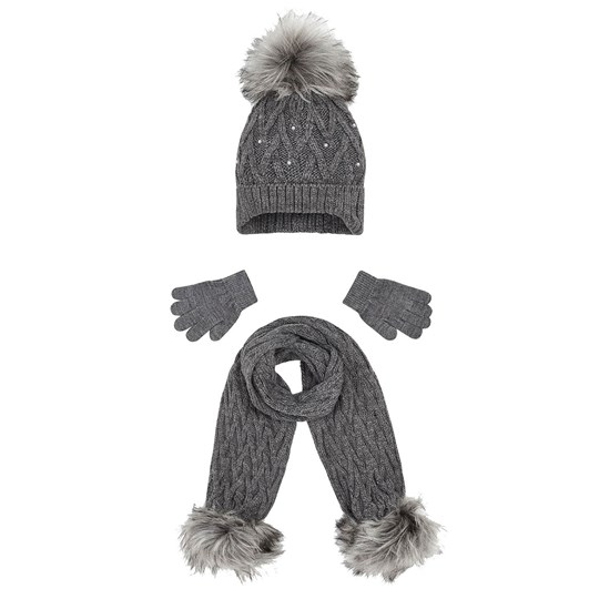 Mayoral Cable Knit Beanie, Glove and Scarf Set Grey 45