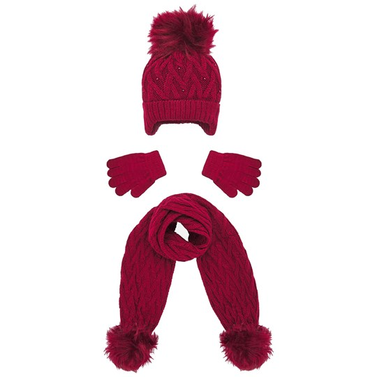 Mayoral Cable Knit Beanie, Glove and Scarf Set Burgundy 43