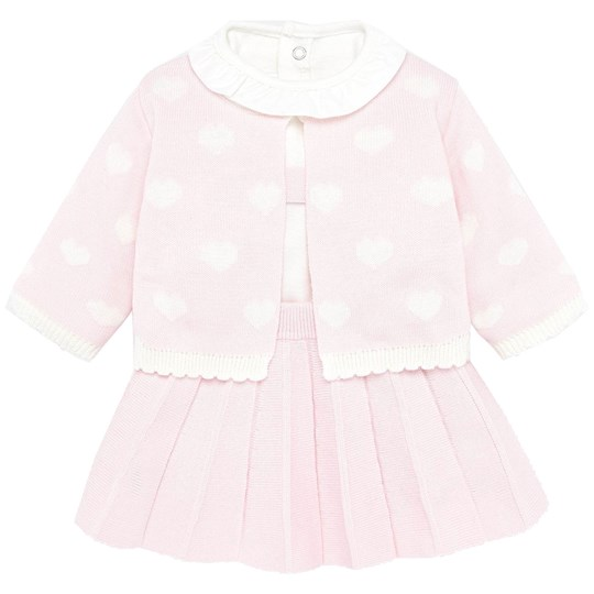 Mayoral 3-Piece Cardigan, Top and Pleated Skirt Pink 55