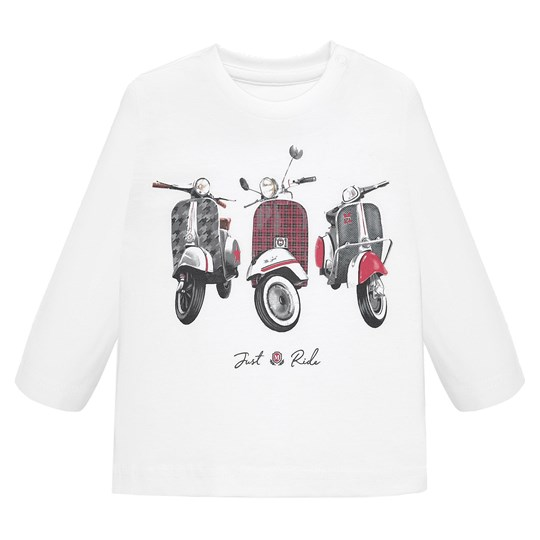 Mayoral Just Ride Vespa Long Sleeve Tee White 22
