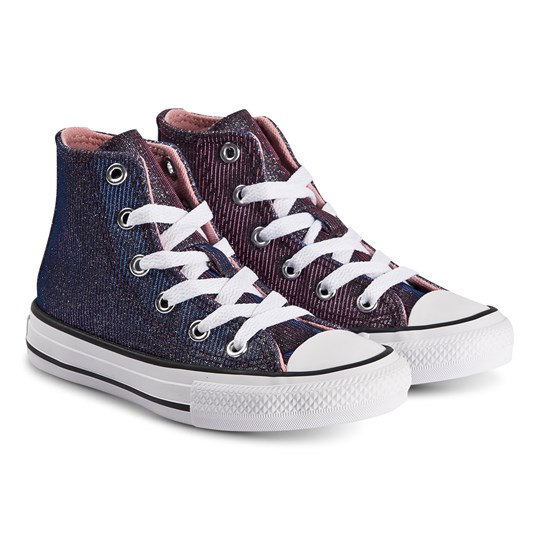 Converse Iridescent Chuck Taylor Hi Top Sneakers Pink Space COASTAL PINK/SILVER/WHITE