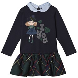 Mayoral Embroidered Girl and Check Dress Navy/Green
