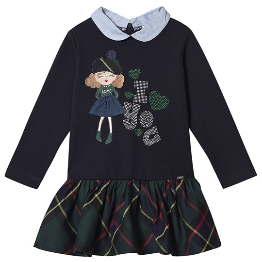 Mayoral Embroidered Girl and Check Dress Navy/Green 40