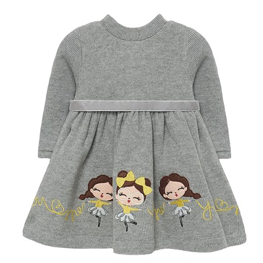 Mayoral Dancing Girl Applique Knit Dress Grey 32
