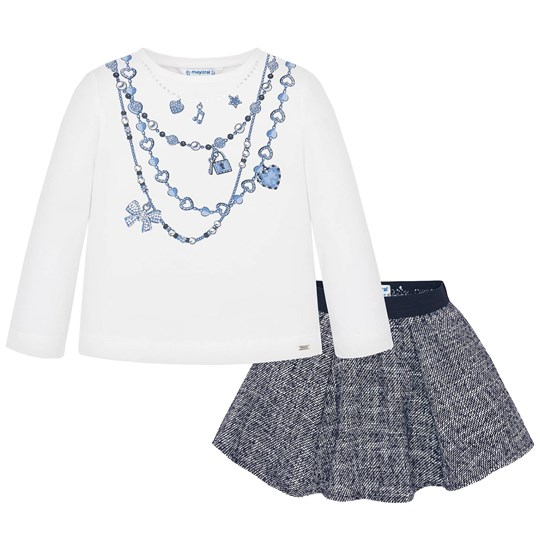 Mayoral Necklace Print Tee and Boucle Skirt Set White/Navy 68