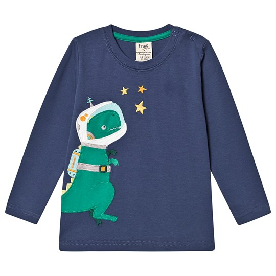 Frugi Joe Applique Top Space Blue/Dino Space Blue/Dino