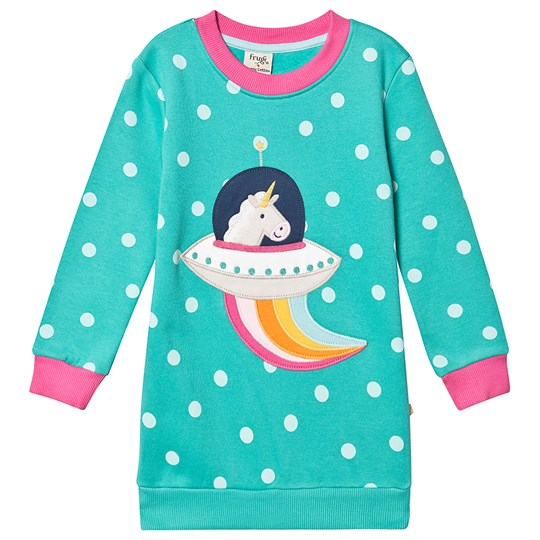 Frugi Eloise Sweatshirt Dress Topaz Blue Polka/Unicorn Topaz Blue Polka/Unicorn